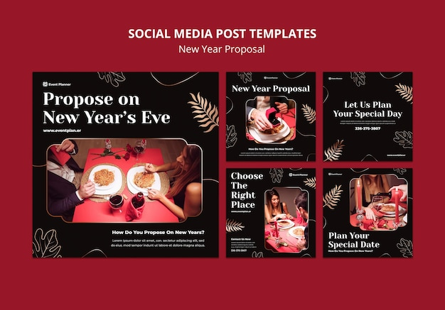 Festive new year eve ig posts set