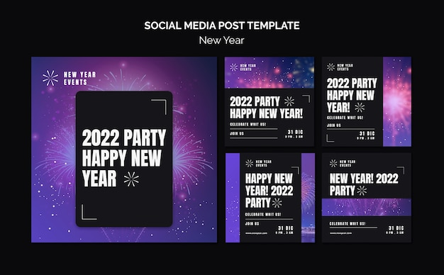 Festive new year party instagram posts collection