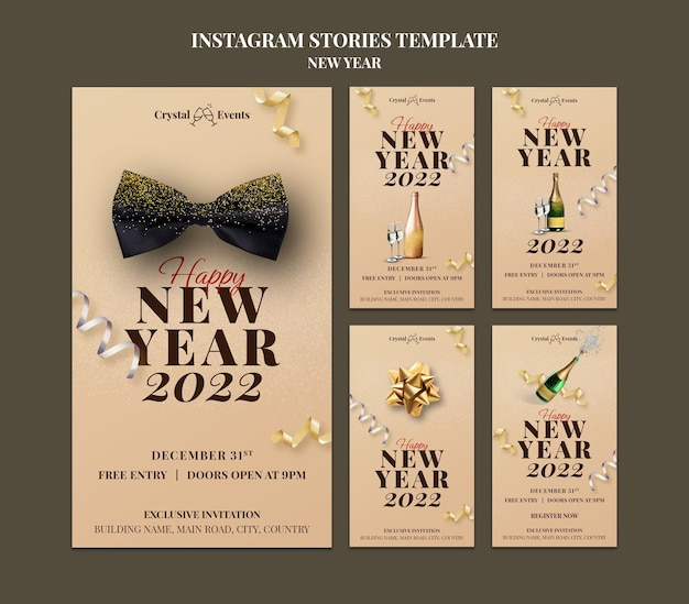 お祝いの新年会のインスタグラムストーリーコレクション