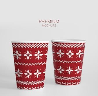 Festive paper cup design mockup
