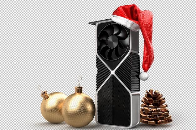 Праздничная графическая видеокарта пк. рождественское понятие. 3d-рендеринг