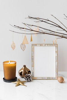 Festive photo frame on a table