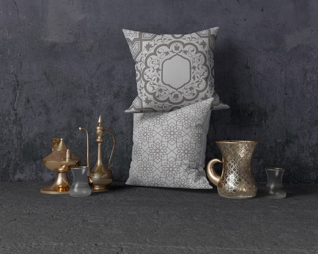 Festive ramadan composition with pillows