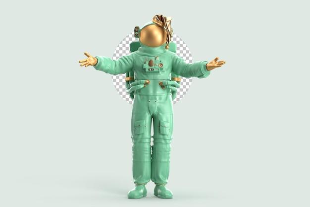 축제 산타 우주 비행사. 크리스마스 개념입니다. 3d 렌더링