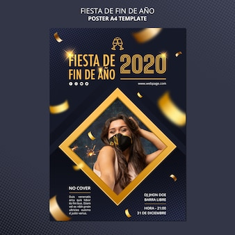 Fiesta de fin de ano celebration poster template