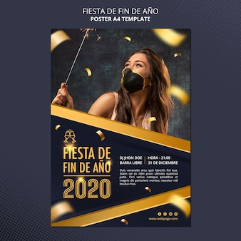 Плакат празднования фиесты де фин де ано