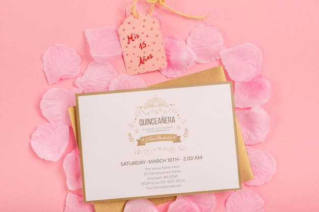 Fifteen birthday invitation and label