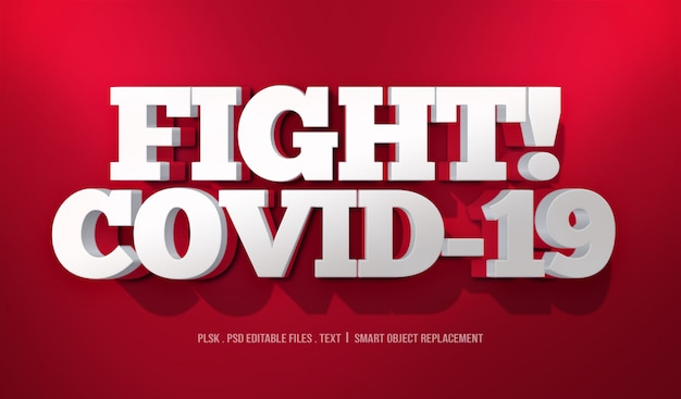Fight! covid-19 3d text style effect mockup