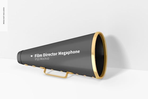 Кинорежиссер мегафон мокап, наклонился