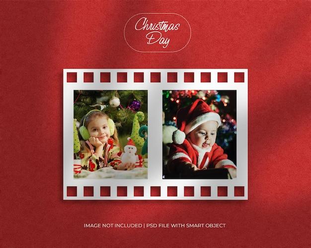 크리스마스와 메리 크리스마스를위한 필름 릴 프레임 사진 목업