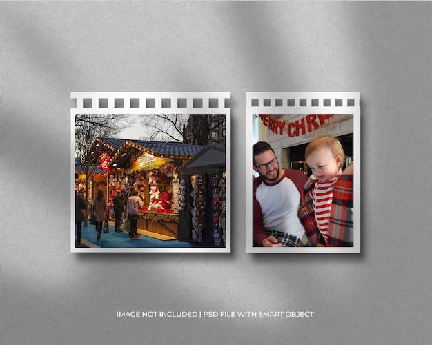 크리스마스와 메리 크리스마스를 위한 필름 릴 프레임 사진 모형
