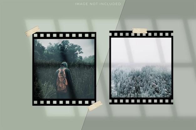 필름 스트립 모형 템플릿. 이미지를 위한 공간이 있는 실제 고해상도 35mm 필름 프레임 배경. 라이프스타일 컨셉