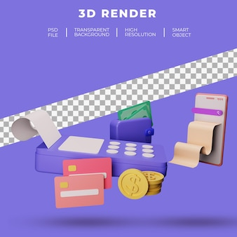 방문 페이지 웹 사이트 3d 렌더링에 대한 금융 및 seo 또는 지불 데이터 격리