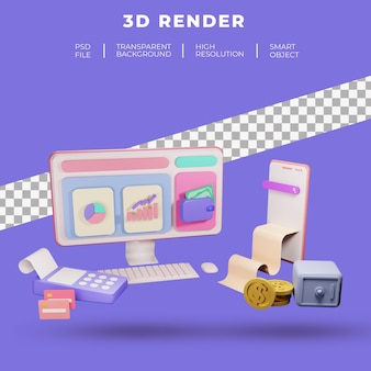 Finance and seo or payment data for landing page website 3d rendering isolated