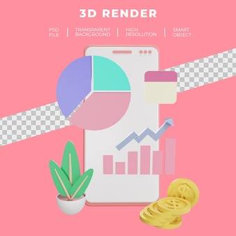 Finance and seo or payment data smartphone 3d rendering isolated