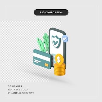 3d 렌더링 금융 보안 개념