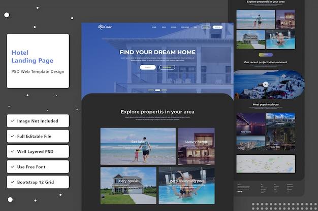 Find hotel dark version web landing page