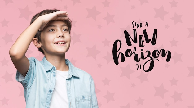 Find a new horizon young cute boy mock-up