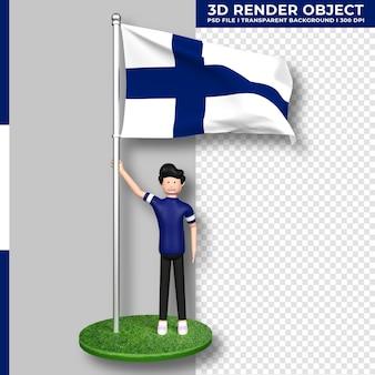 かわいい人々の漫画のキャラクターとフィンランドの旗。独立記念日。 3dレンダリング。