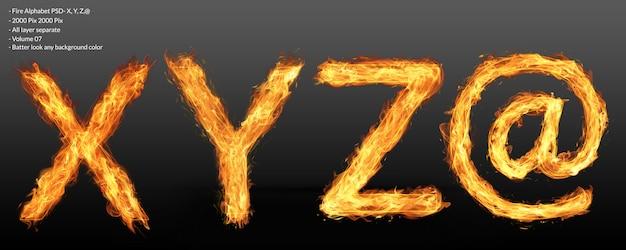 Огненный текстовый эффект алфавита