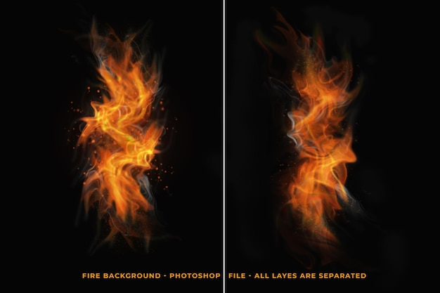 Fire flames effects isolated design