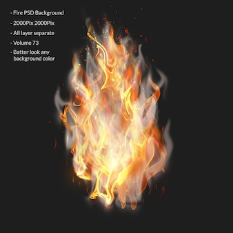 Fire flames isolated on transparent Premium Psd