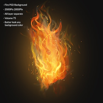 Fire flames isolated on transparent