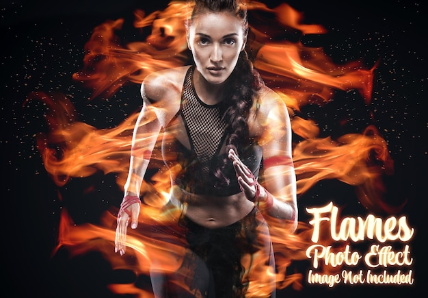 Fire and flames photo effect mockup