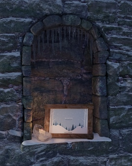 Fireplace with winter frame theme