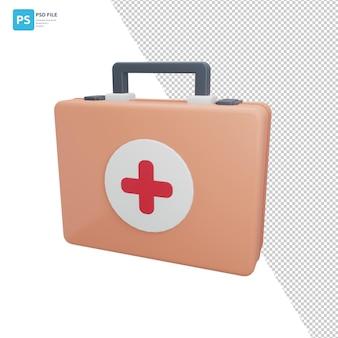 First aid kit in 3d illustration design assets