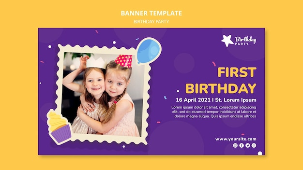 First birthday party banner template