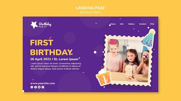 Modello di pagina di destinazione della prima festa di compleanno