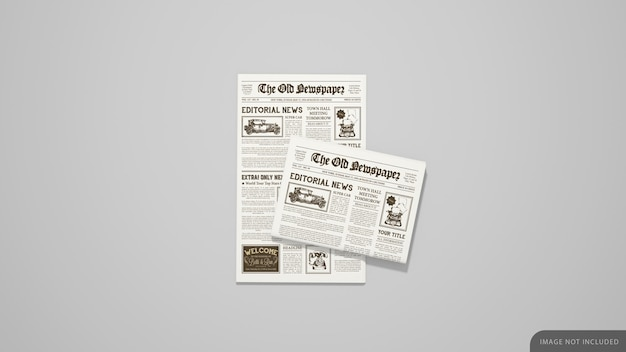 First page and folded newspaper mockup