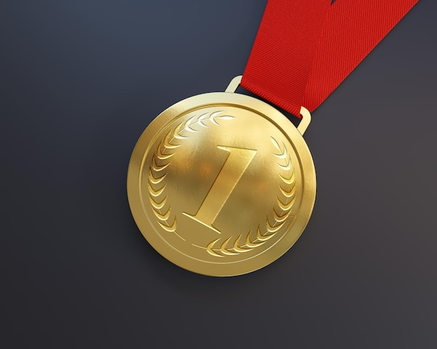 First place gold medal mockup