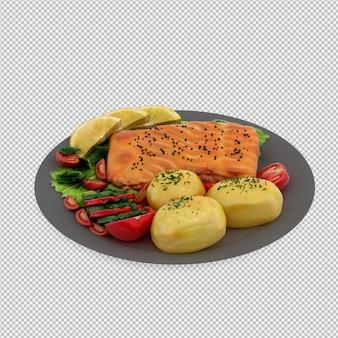 Рыба на тарелке 3d визуализации