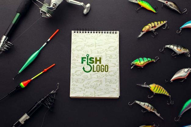 Fishing accessories bait and notepad mock-up