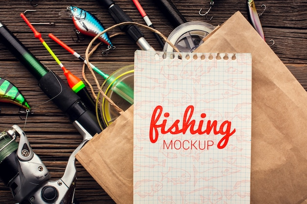 Fishing accessories mock-up and shopping bag