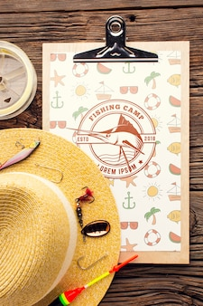 Fishing accessories mock-up and summer hat