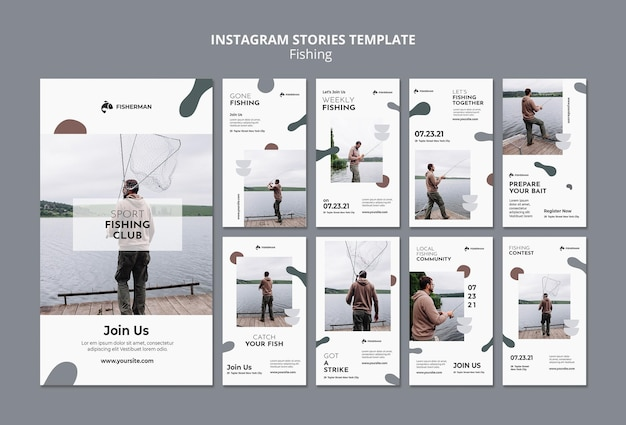Fishing concept instagram stories template