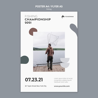 Fishing concept poster template