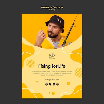 Fishing for life man in yellow coat poster