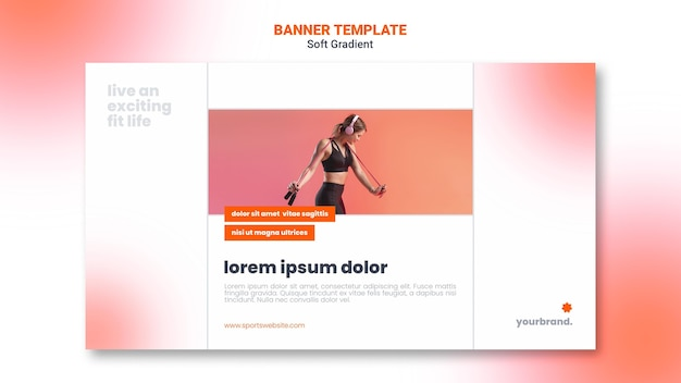 Fit cardio girl banner web template