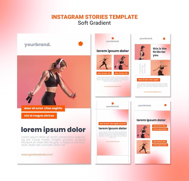 Fit cardio girl instagram stories template