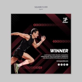 Fit спортсмен, выигравший квадратный флаер шаблон