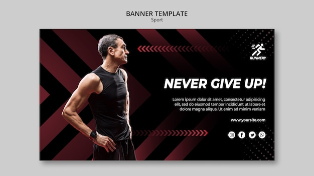 Fit sportsman never give up banner