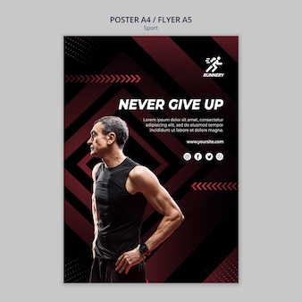 Fit sportsman never give up poster template