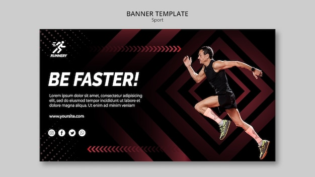 Fit sportsman running banner template