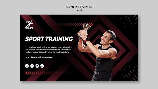Fit спортсмен выиграв призовой шаблон баннера