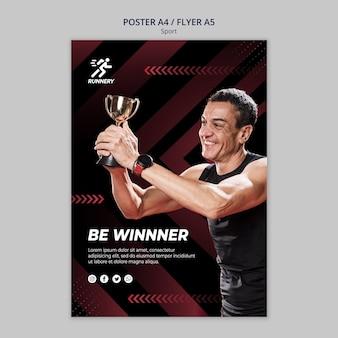 Fit спортсмен выиграв призовой шаблон плаката