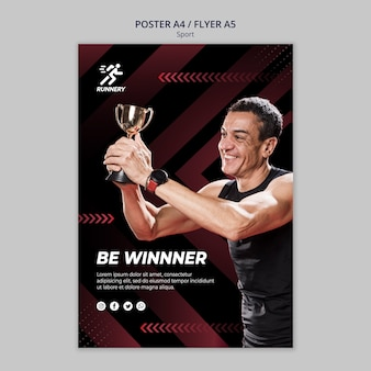 Fit sportsman winning a prize poster template